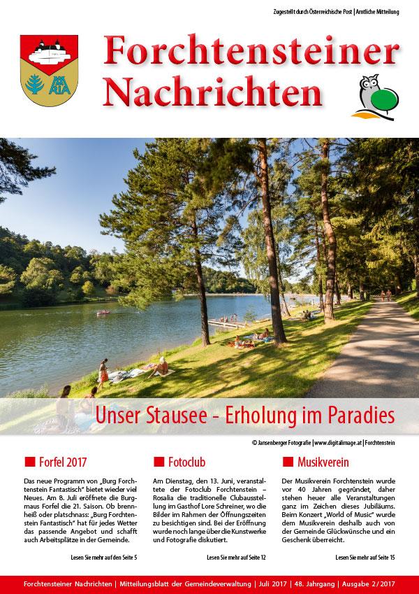 Foto der Gemeindezeitung Forchtenstein (Sommer 2017)
