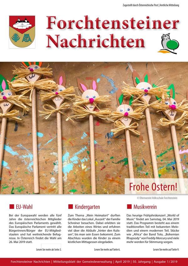 Das Cover: Gemeindezeitung Forchtenstein, Frühjahr 2019