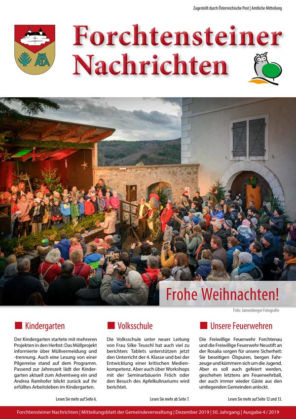 Das Cover der Gemeindezeitung Forchtenstein Winter 2019