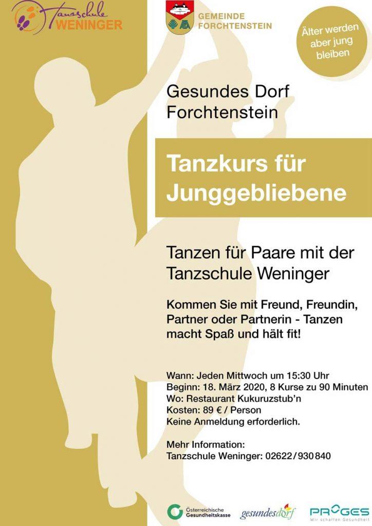Ankündigung für Tanzkurs Forchtenstein, Tanzschule Weninger, Gesundes Dorf