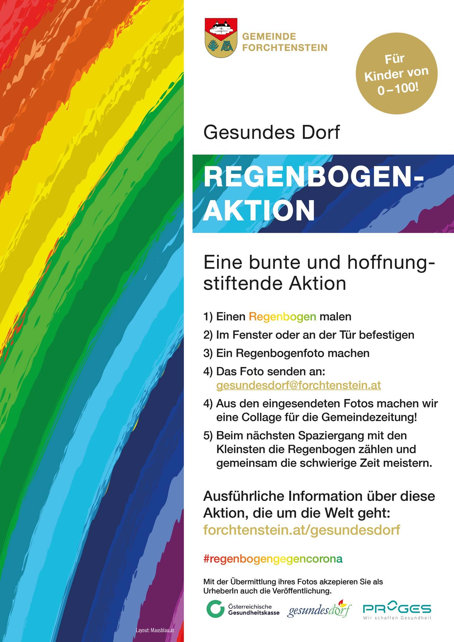 Plakat: Regenbogen-Aktion-Gesundes-Dorf-2020