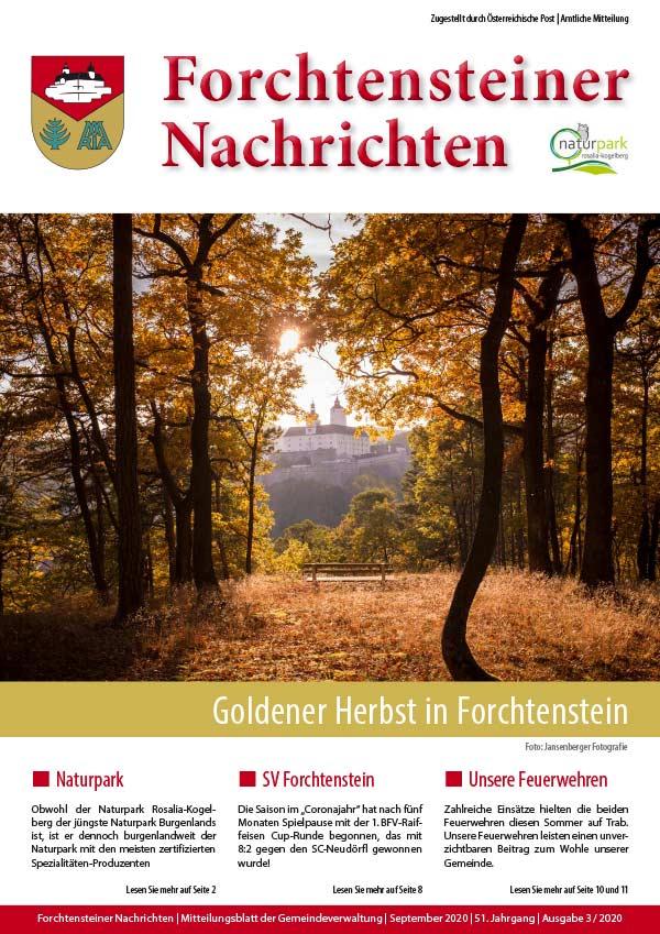 Das Cover der Gemeindezeitung Forchtenstein Herbst 2020