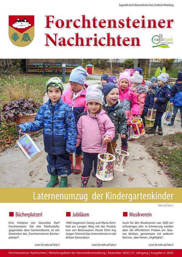 Das Cover der Gemeindezeitung Winter 2020