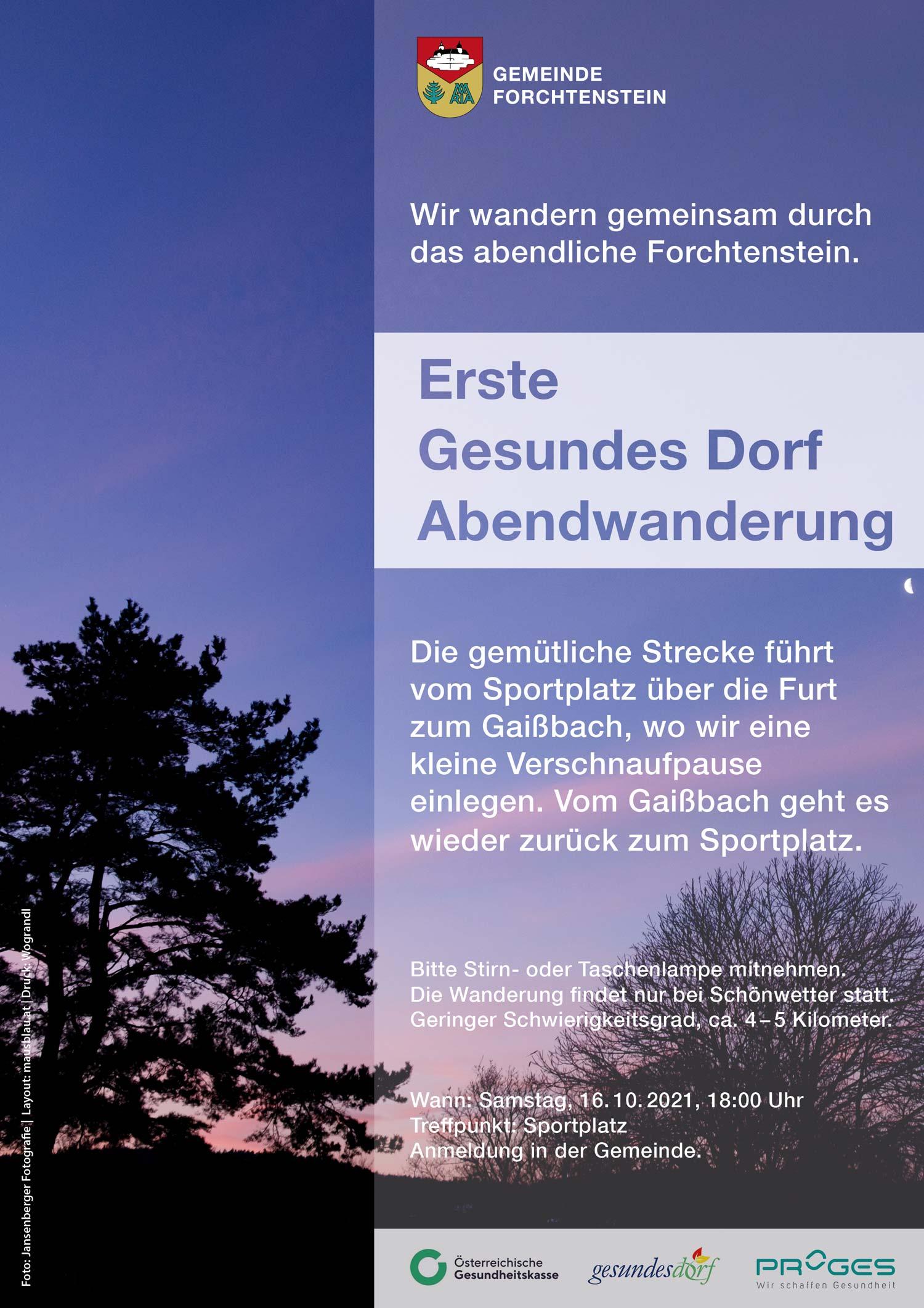 Bild: Abendwanderung-Gesundes-Dorf-Forchtenstein-2021